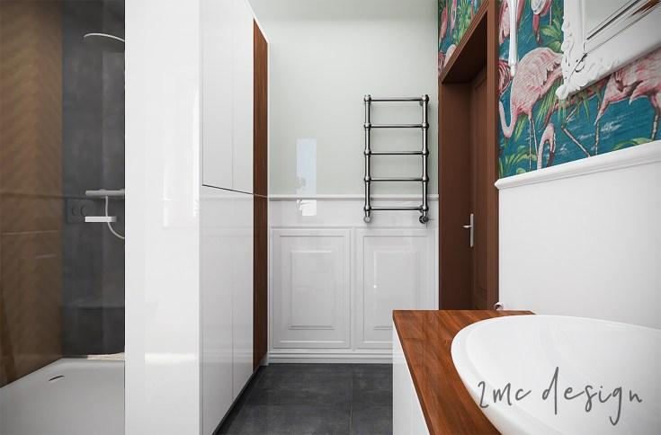 Łazienka BOHO w domu jednorodzonym