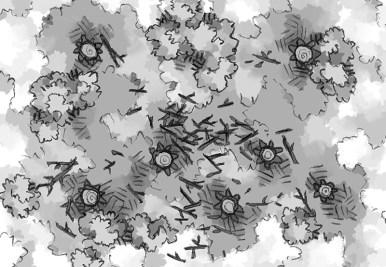 Roadside Clearcut battle map, black & white