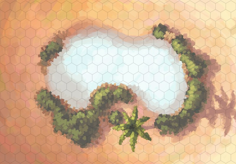 Desert Oasis Battle Map, Hex Grid