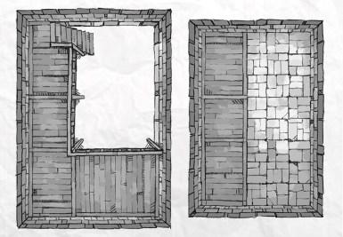 Dungeon Vault Battle Map Tile, black & white
