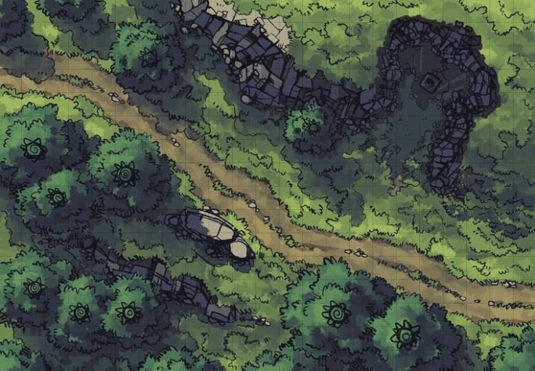 Hillside Altar battle map, square grid