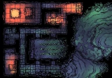 Dwarven Hermitage Dungeon Map, Color