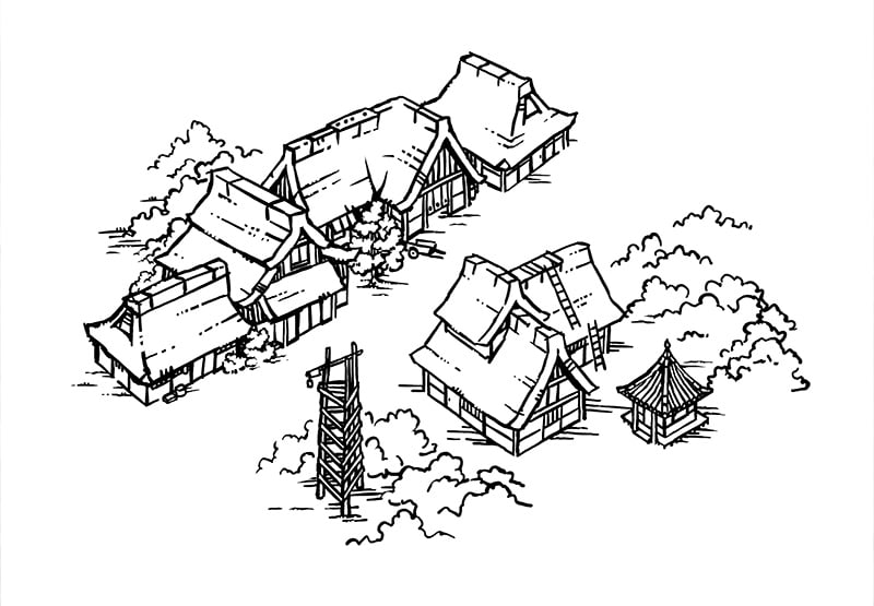 Japanese Village RPG Map, Lines