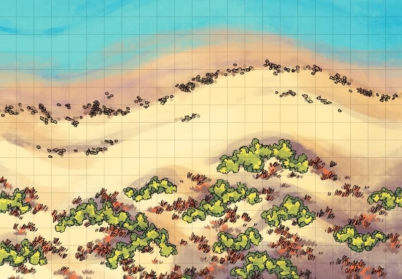 Beach Dunes Battle Map, square grid