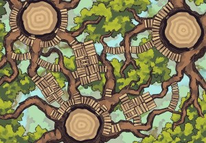 Oakenspire Treetops battle map, color