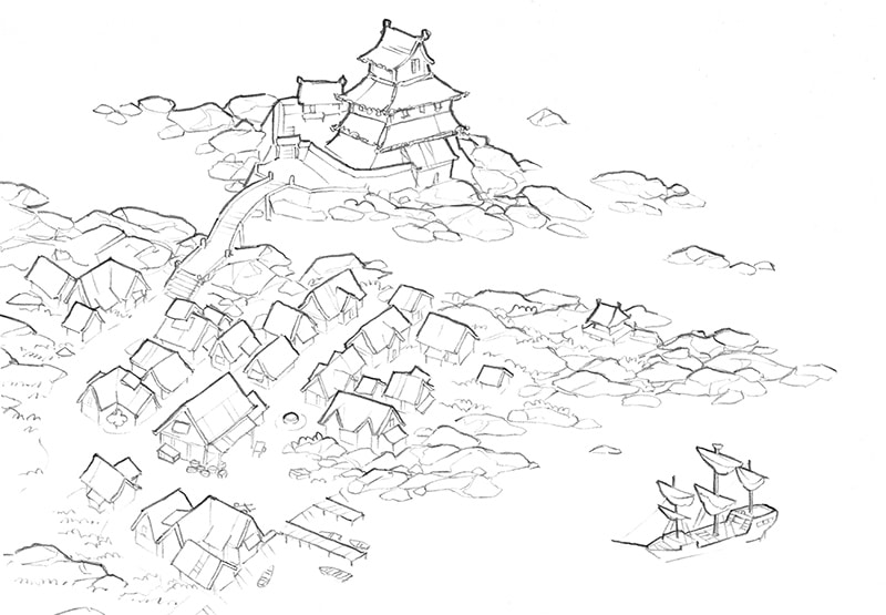 Castle Town city map, line art