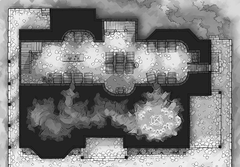 Haunted Cellar RPG battle map, black and white grayscale
