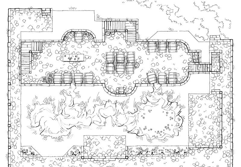 Haunted Cellar RPG battle map, line art
