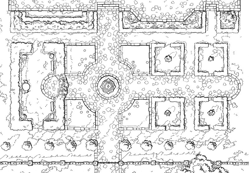 Haunted Garden RPG battle map, line art