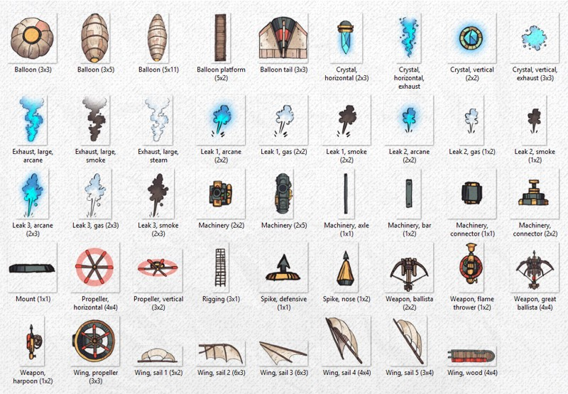 Airships & Assets RPG Graphics, Asset List