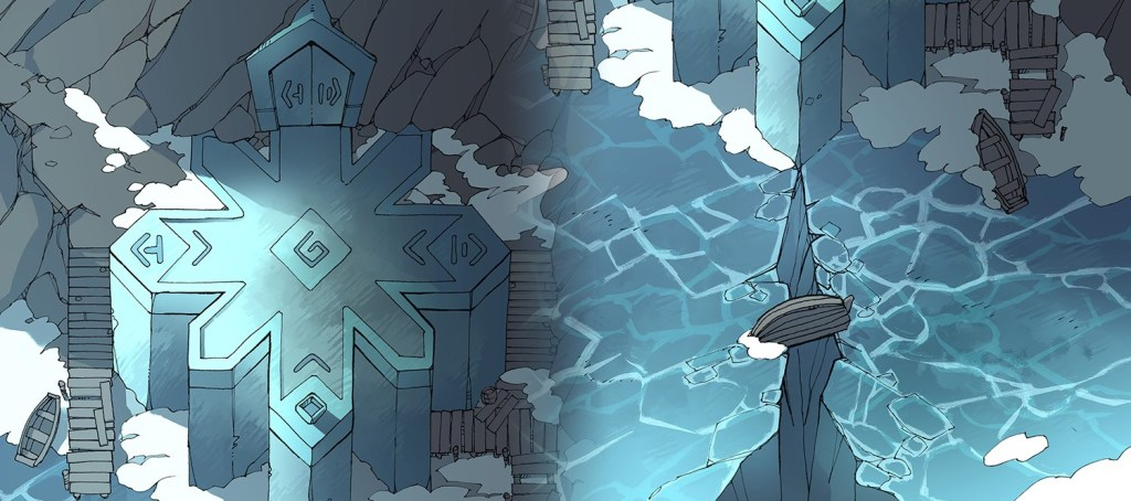 Ice Temple frozen lake RPG battle map, banner