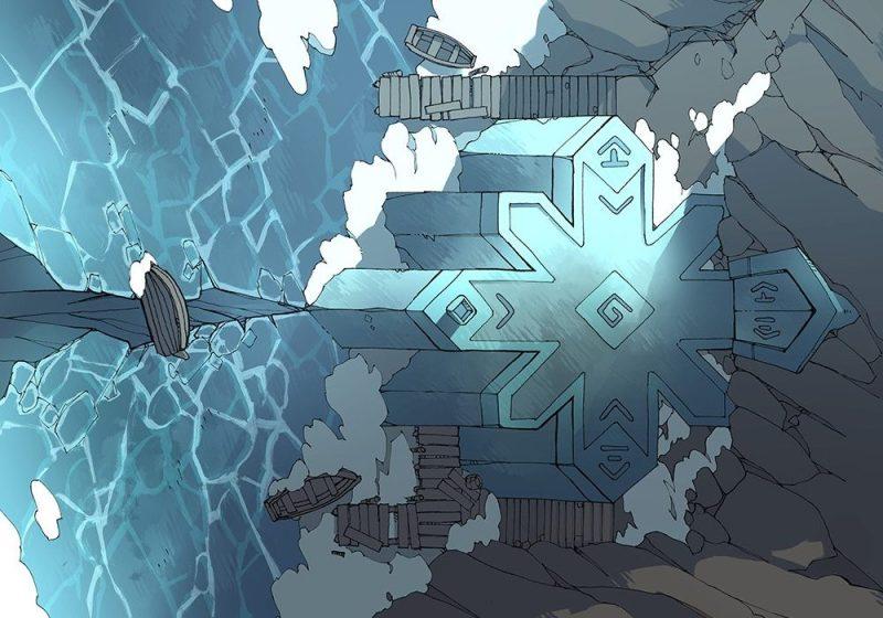 Ice Temple frozen lake RPG battle map, color
