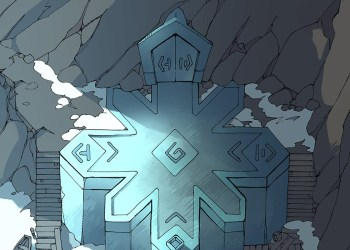 Ice Temple frozen lake RPG battle map, color preview 2