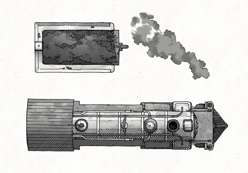Steam Locomotive RPG Battle Map, Black & White Preview
