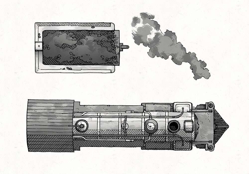Steam Locomotive RPG Battle Map, Black & White Preview