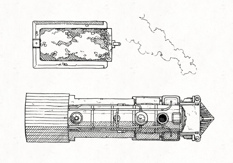 Steam Locomotive RPG Battle Map, Lineart Preview