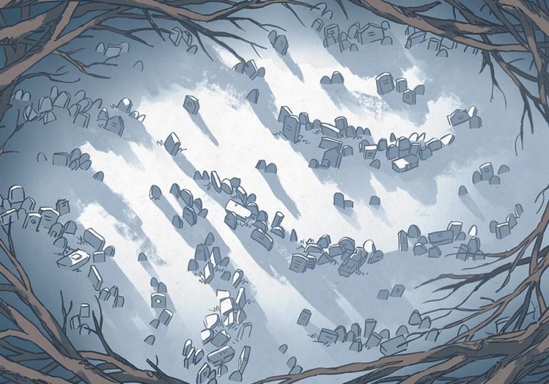 Silent Snowy Cemetery Battle Map – Color