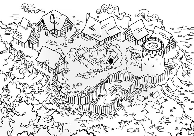 Fog's Edge Outpost Jungle Town Map, Lineart