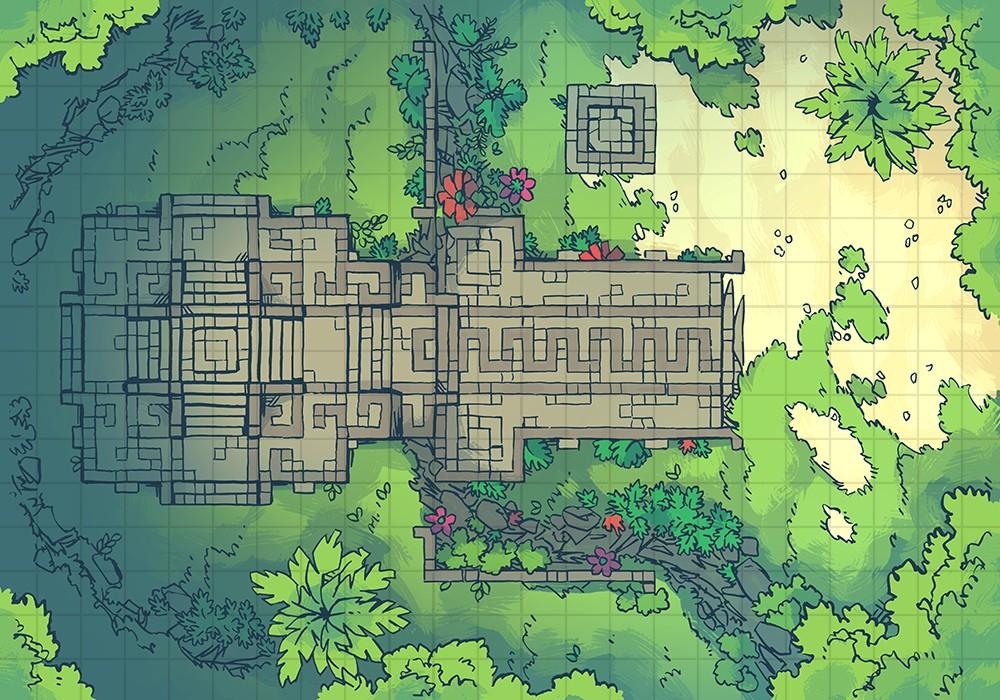Jungle Podium battle map, grid