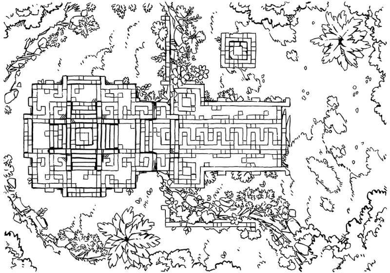 Jungle Podium battle map, lineart