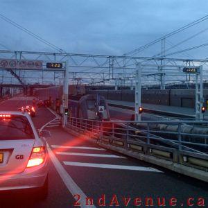 Driving towards the Eurotunnel train