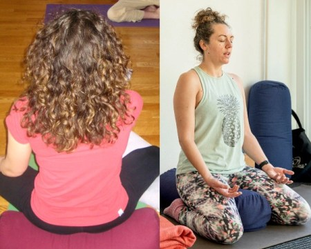 Side-by-side photos of Laura Left: sitting in easy pose in a red t-shirt with curly hair down her back Right: sitting in rock pose in a light green tank top with hair pulled into a messy bun