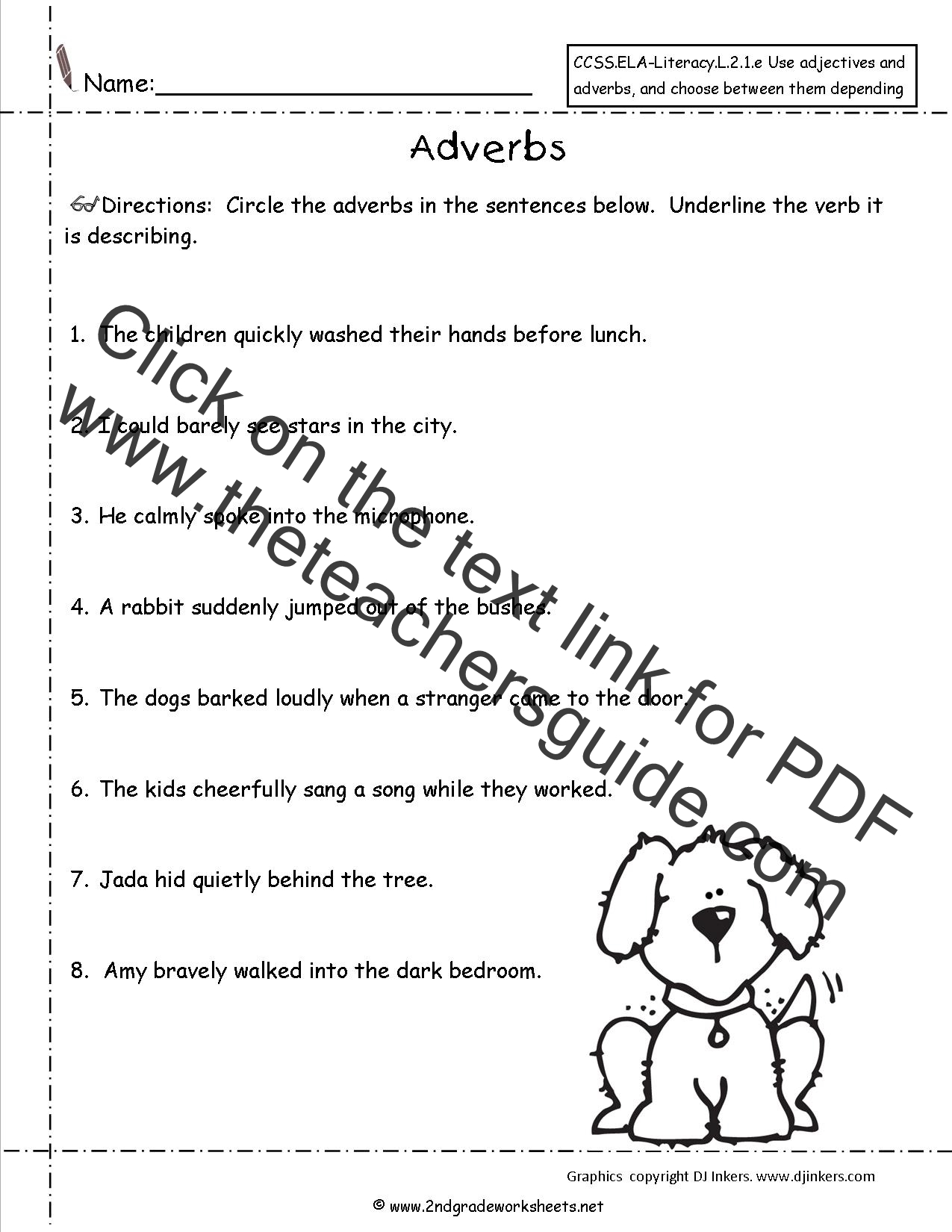 Worksheet Adverbs