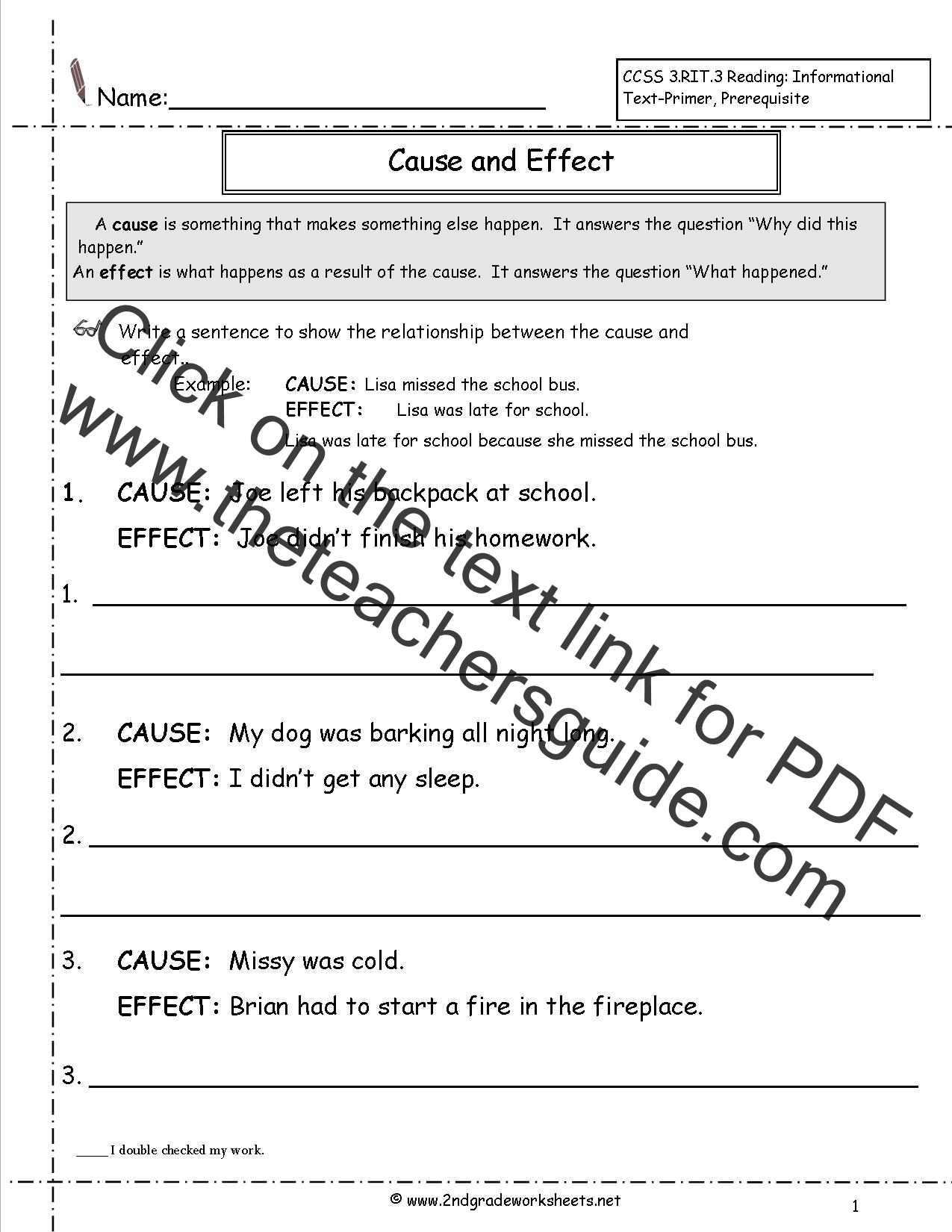 Worksheet For Grade 2 Cause And Effect