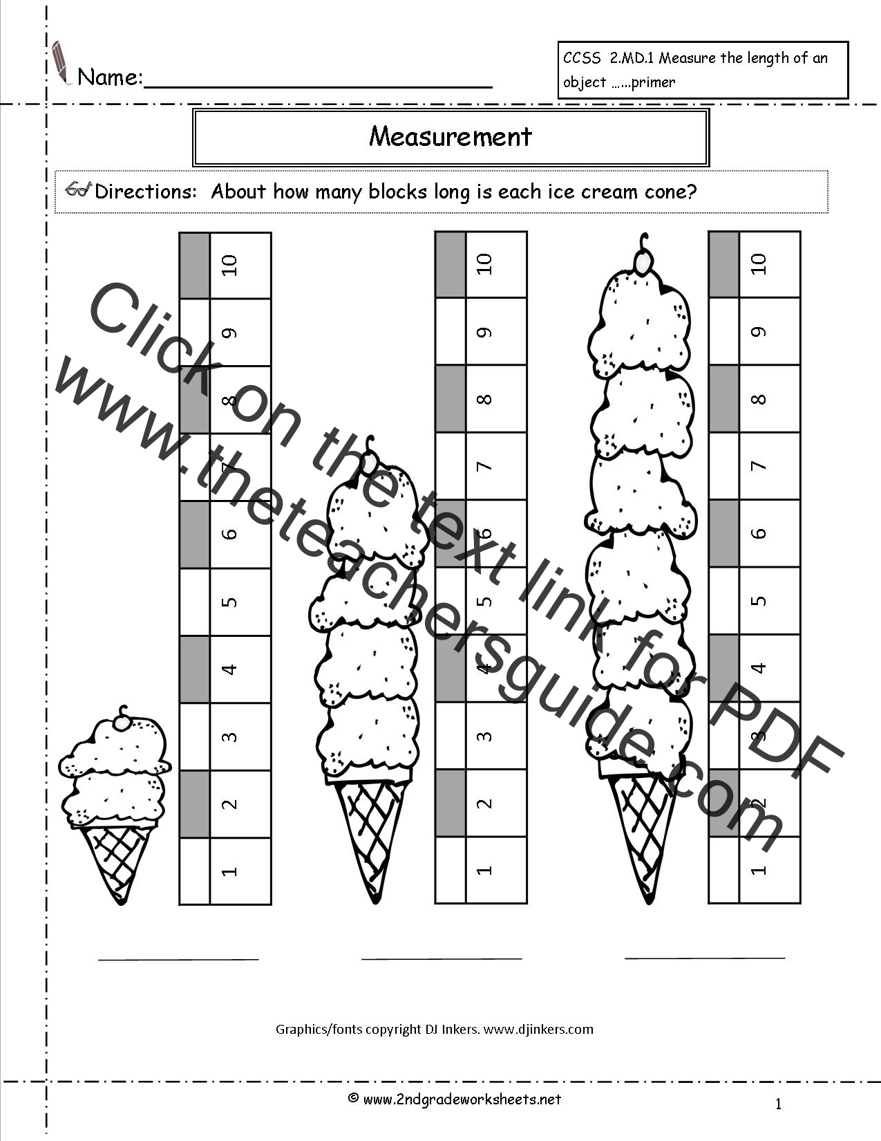Math Worksheet Measuring Tools