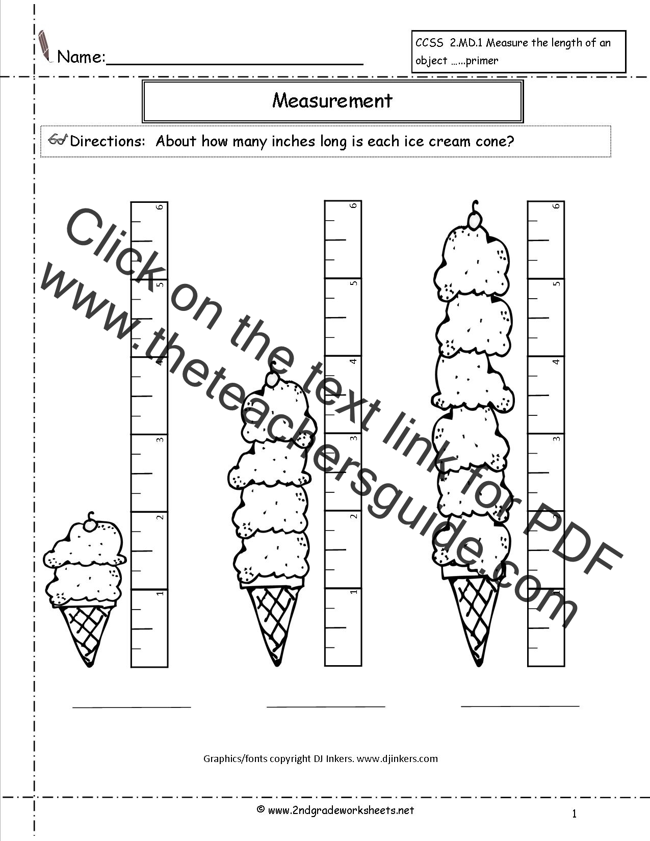Length Worksheet Grade 2