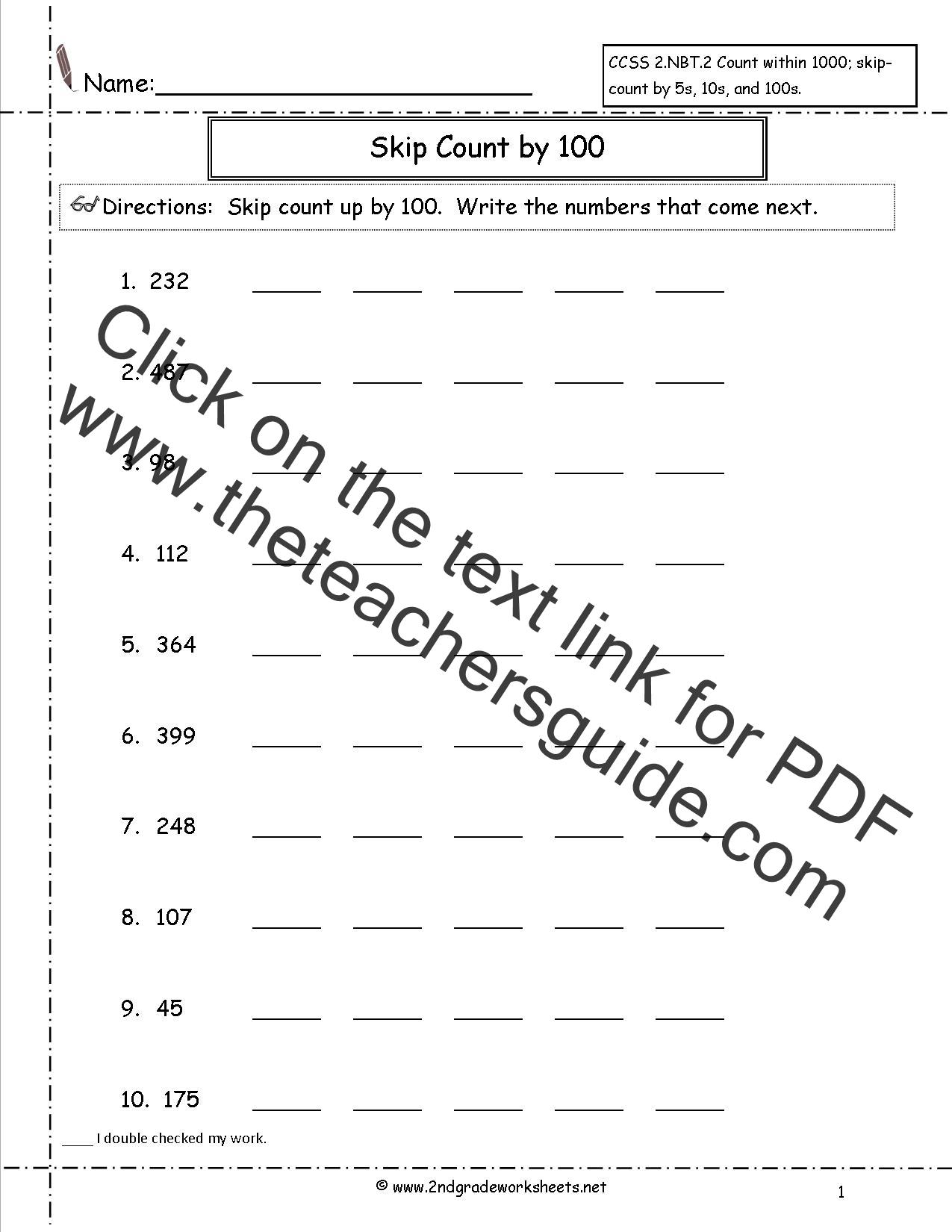 Ccss 2 Nbt 2 Worksheets