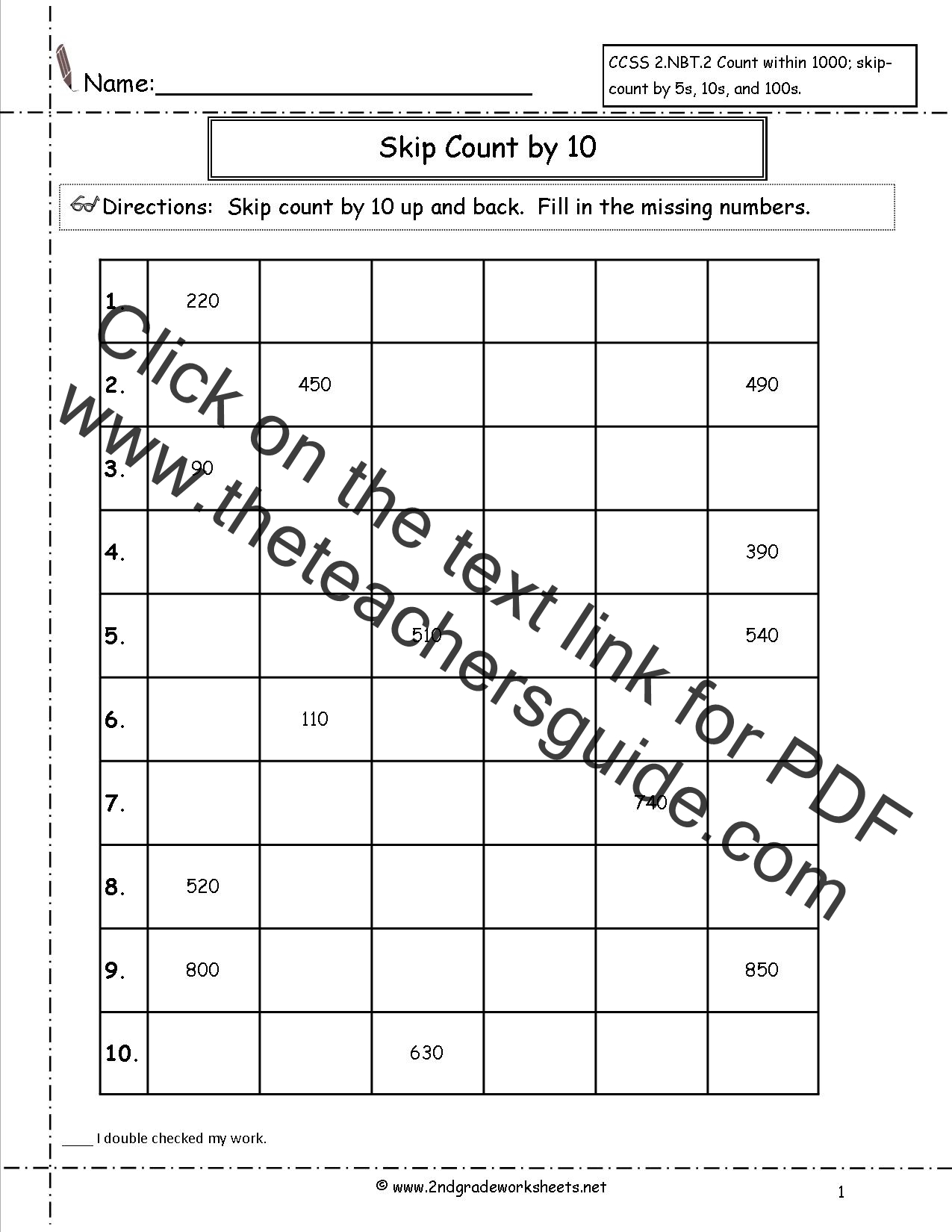 Ccss 2 Nbt 2 Worksheets