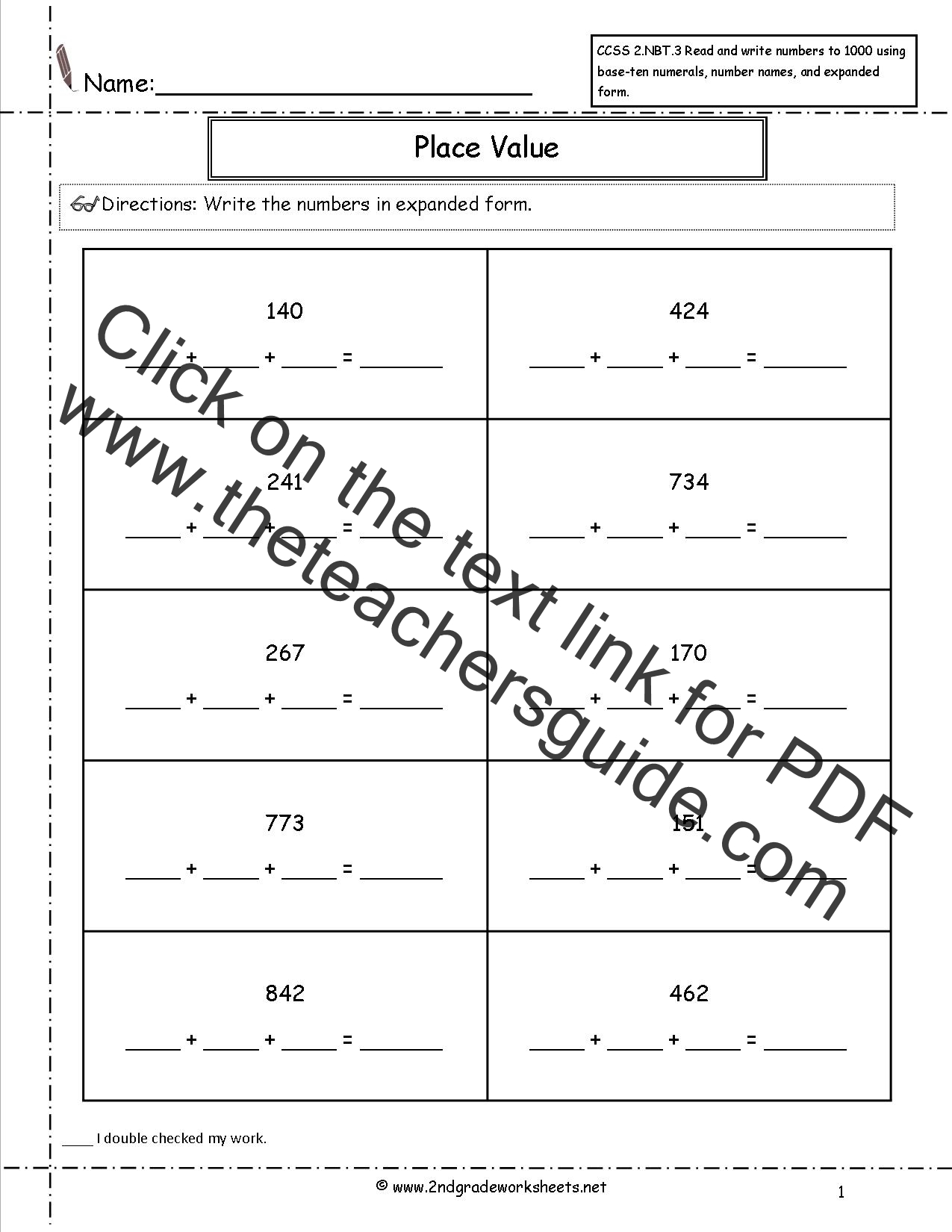 Base 10 Blocks Worksheets Images