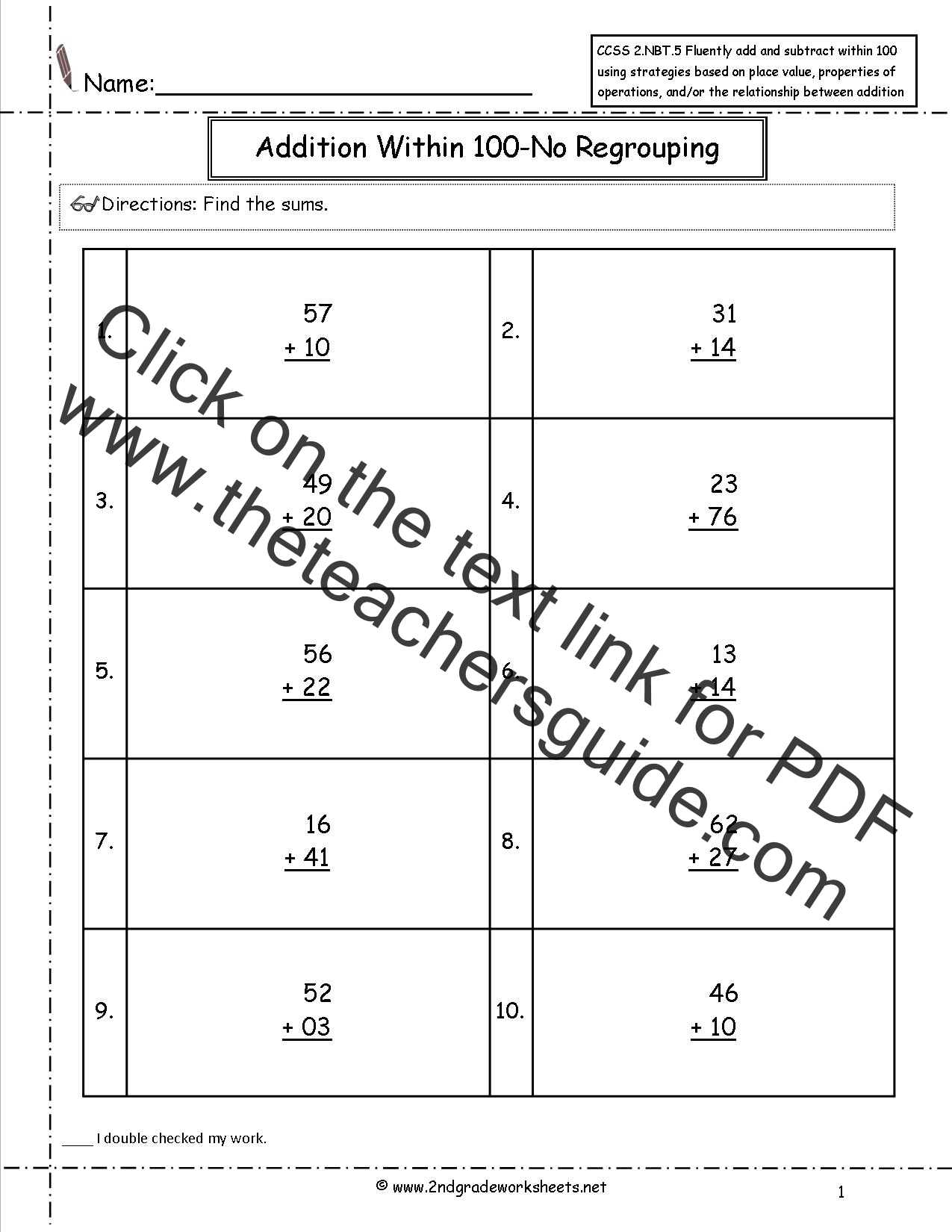 Ccss 2 Nbt 5 Worksheets Two Digit Addition And Subtraction Within 100 Worksheets