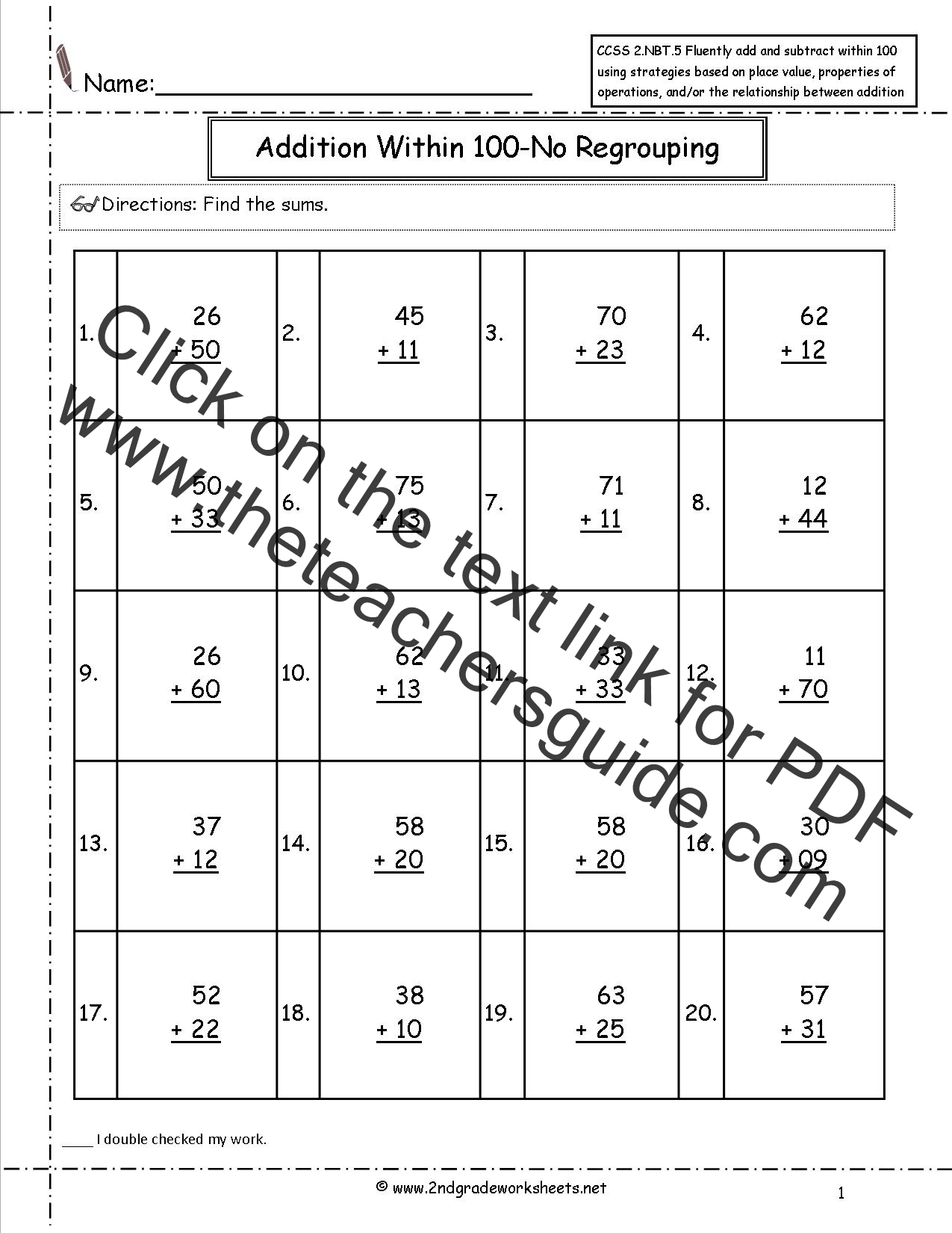 Add And Subtract Within 100 Worksheet
