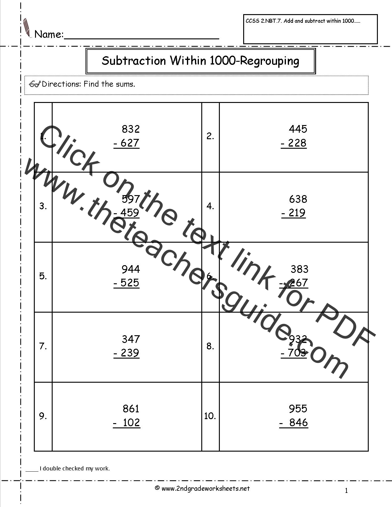 Ccss 2 Nbt 7 Worksheets Addition And Subtraction Within