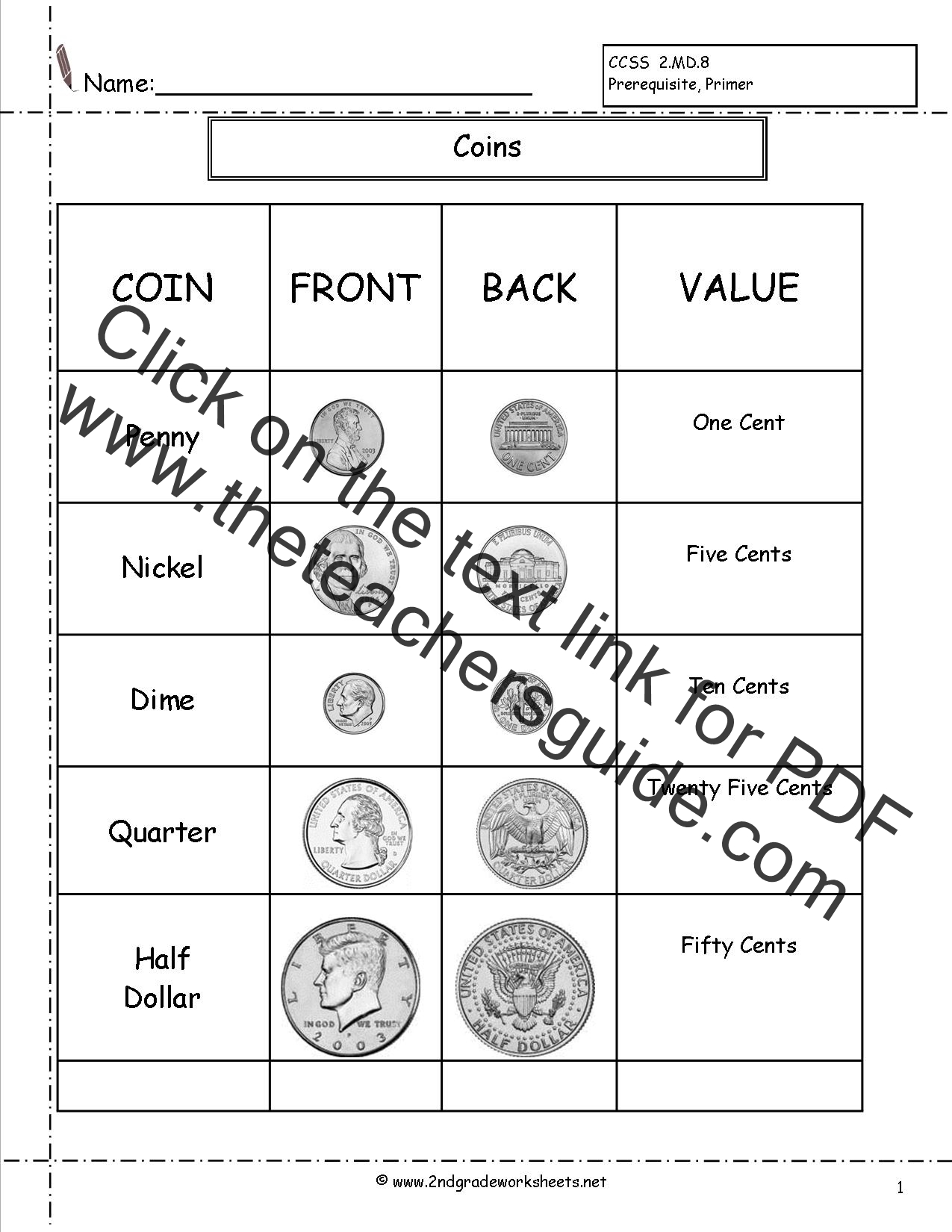 Half Dollar Printable Worksheet