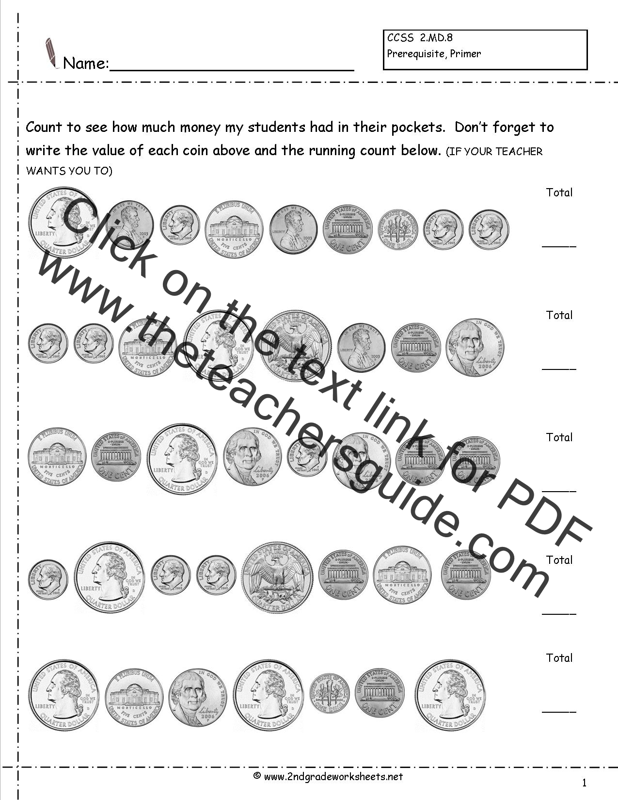 1st Grade Coin Counting Worksheets Reading Skr Token
