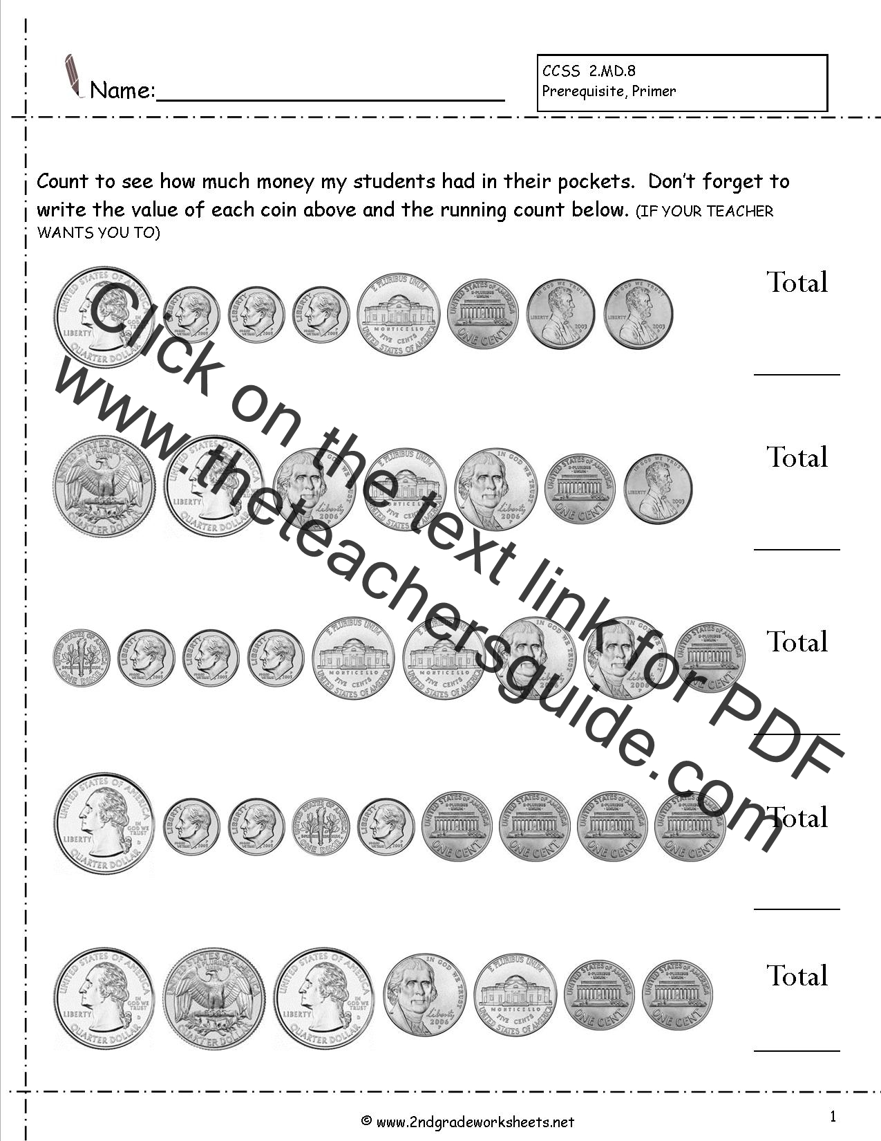 Money Equivalent Worksheet
