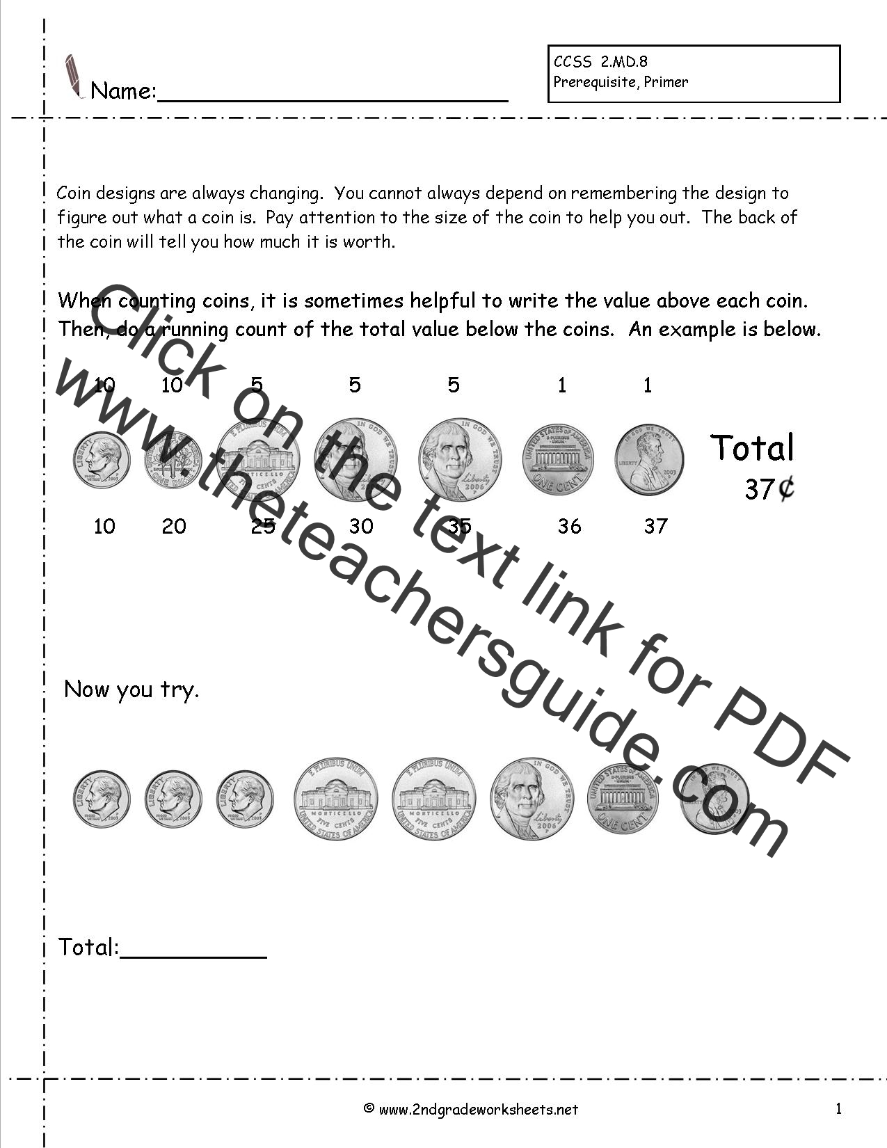 32 Values Of Coins Worksheet