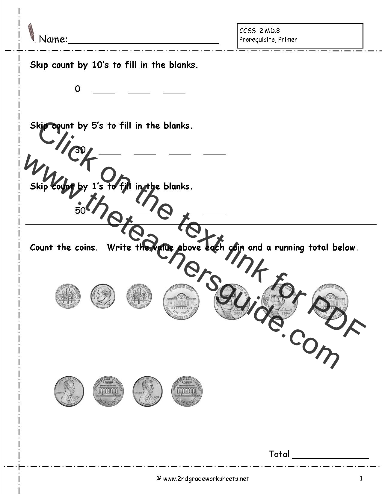 Stupendous Counting Money Printable Worksheets