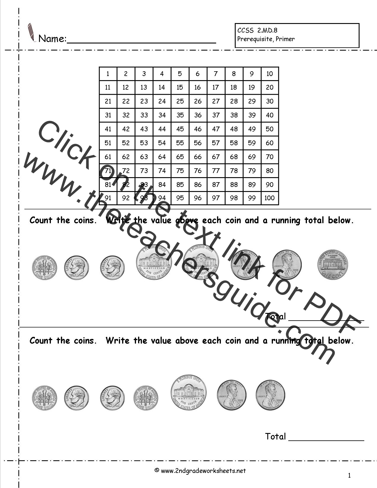 Value Of Coins Worksheet