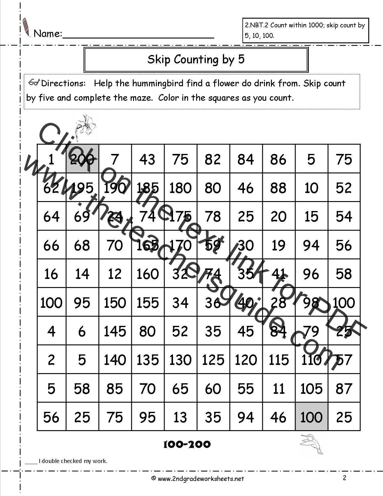 Worksheet Complete The Skip Counting Series Grass Fedjp