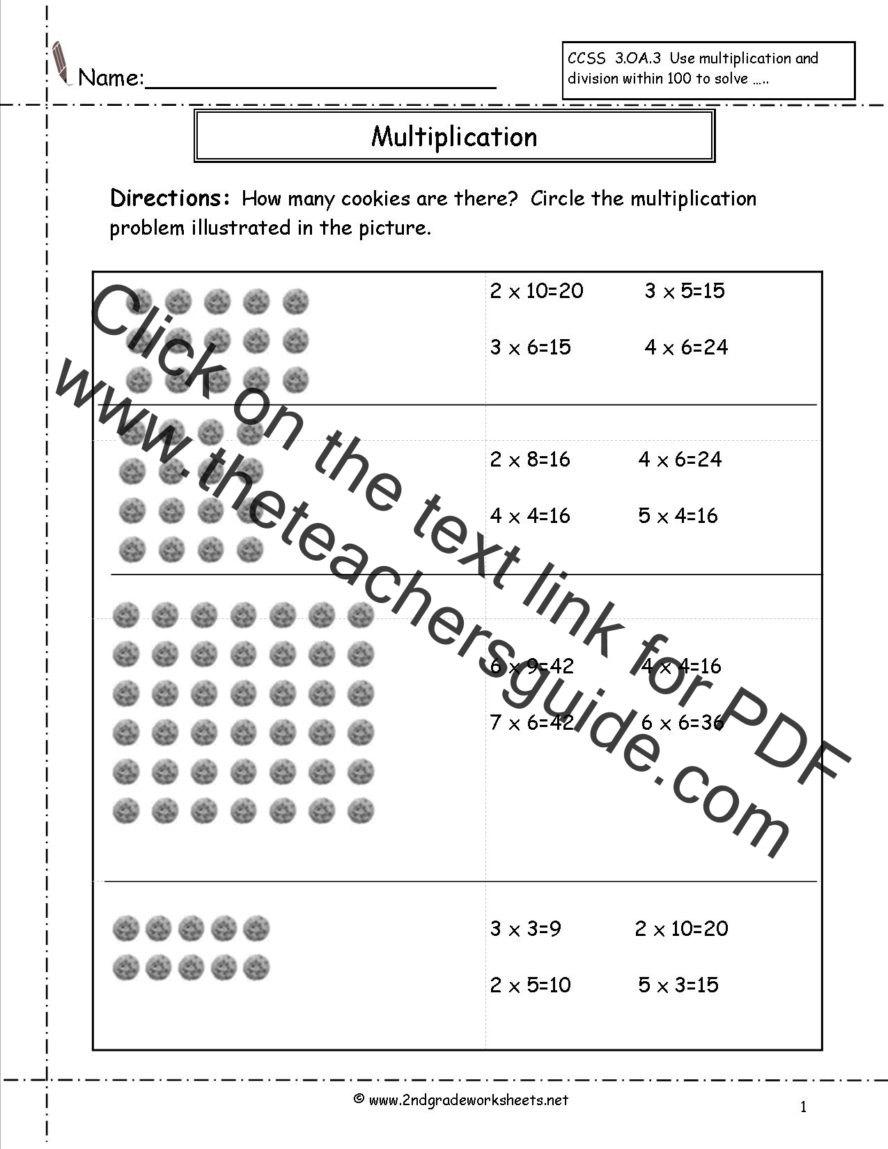 Multiplication Arrays Worksheet