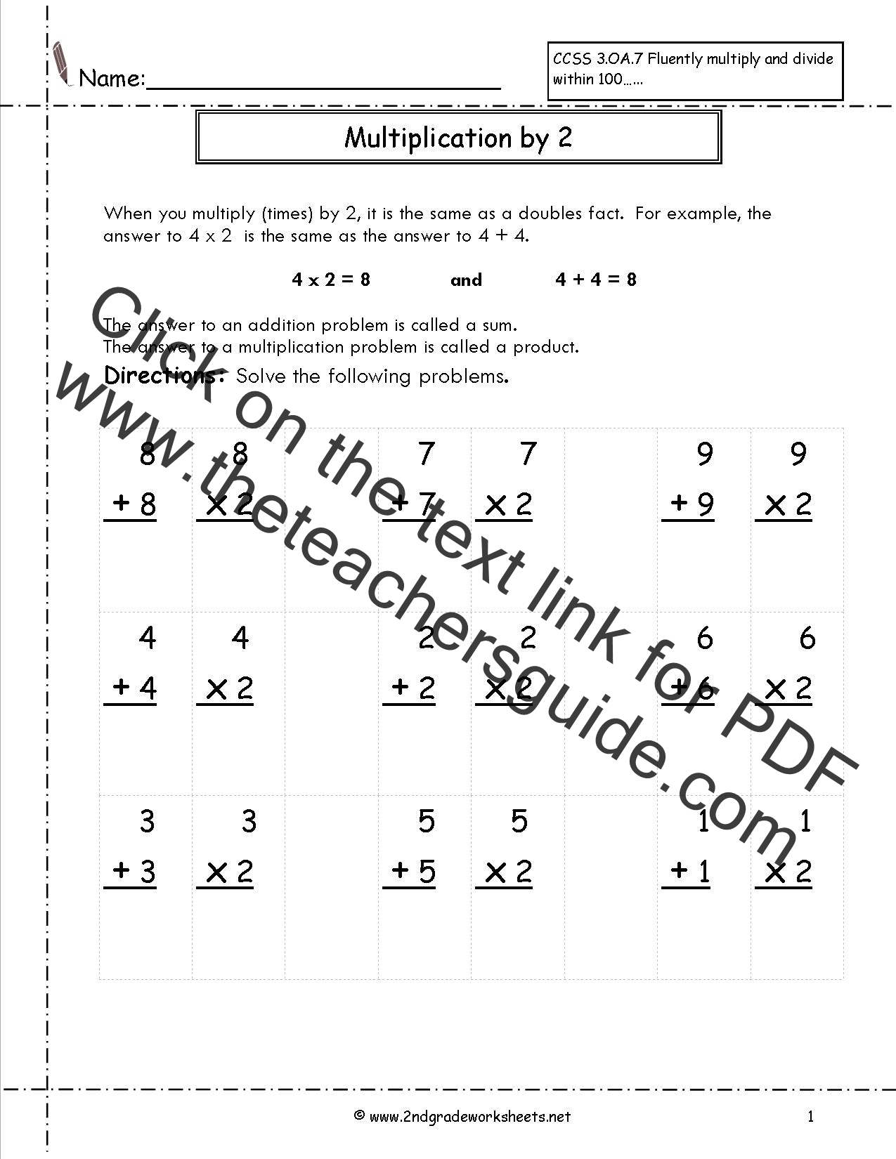 Family Worksheet Multiplication 2