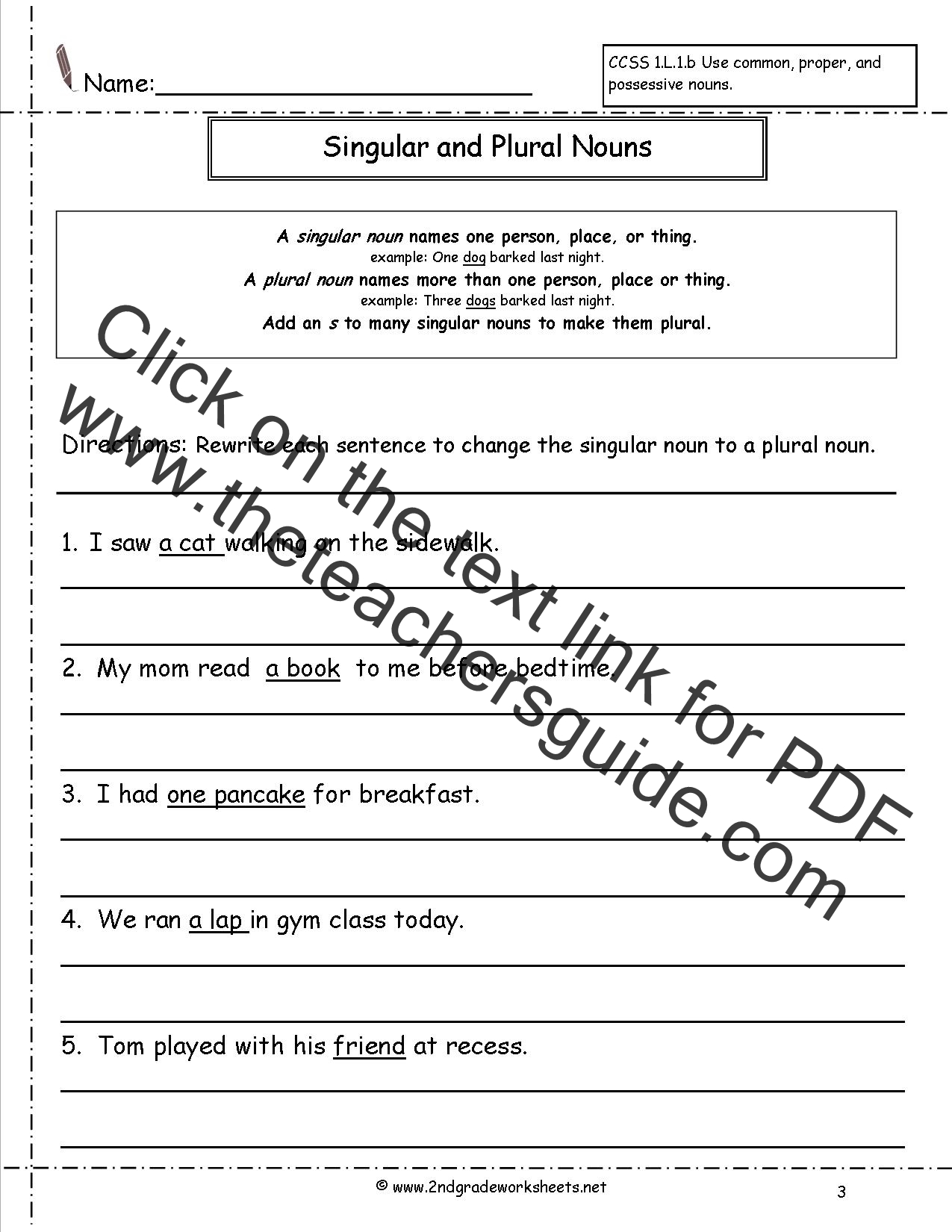 Nouns Worksheet Grade 3