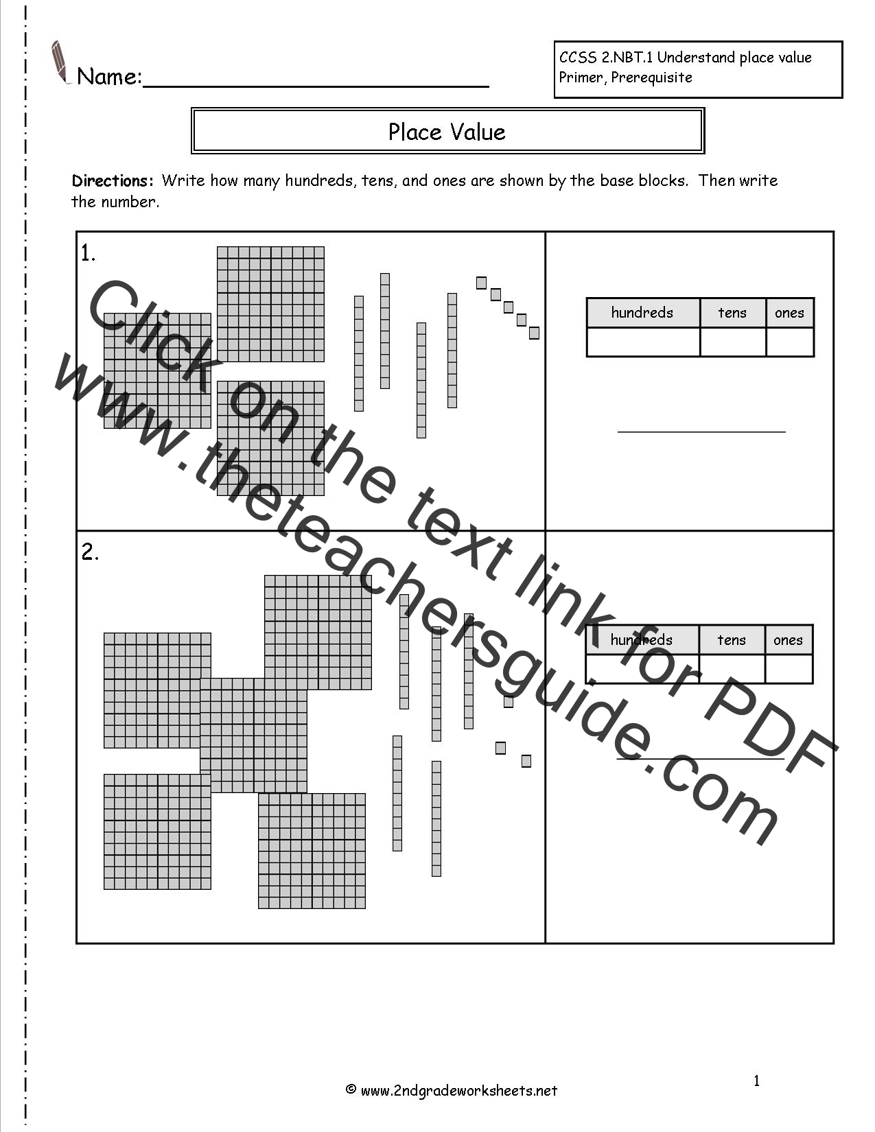 Printables Of Worksheet Place Value Hundreds
