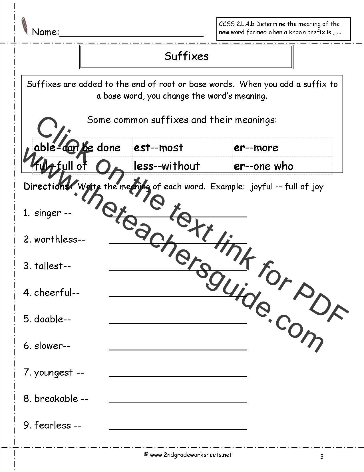 Suffix Ness Worksheet