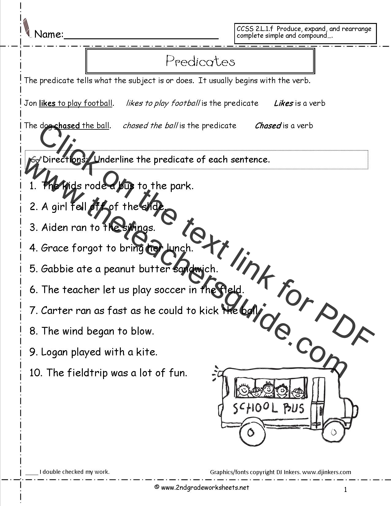 4th Grade Subject And Predicate Worksheet