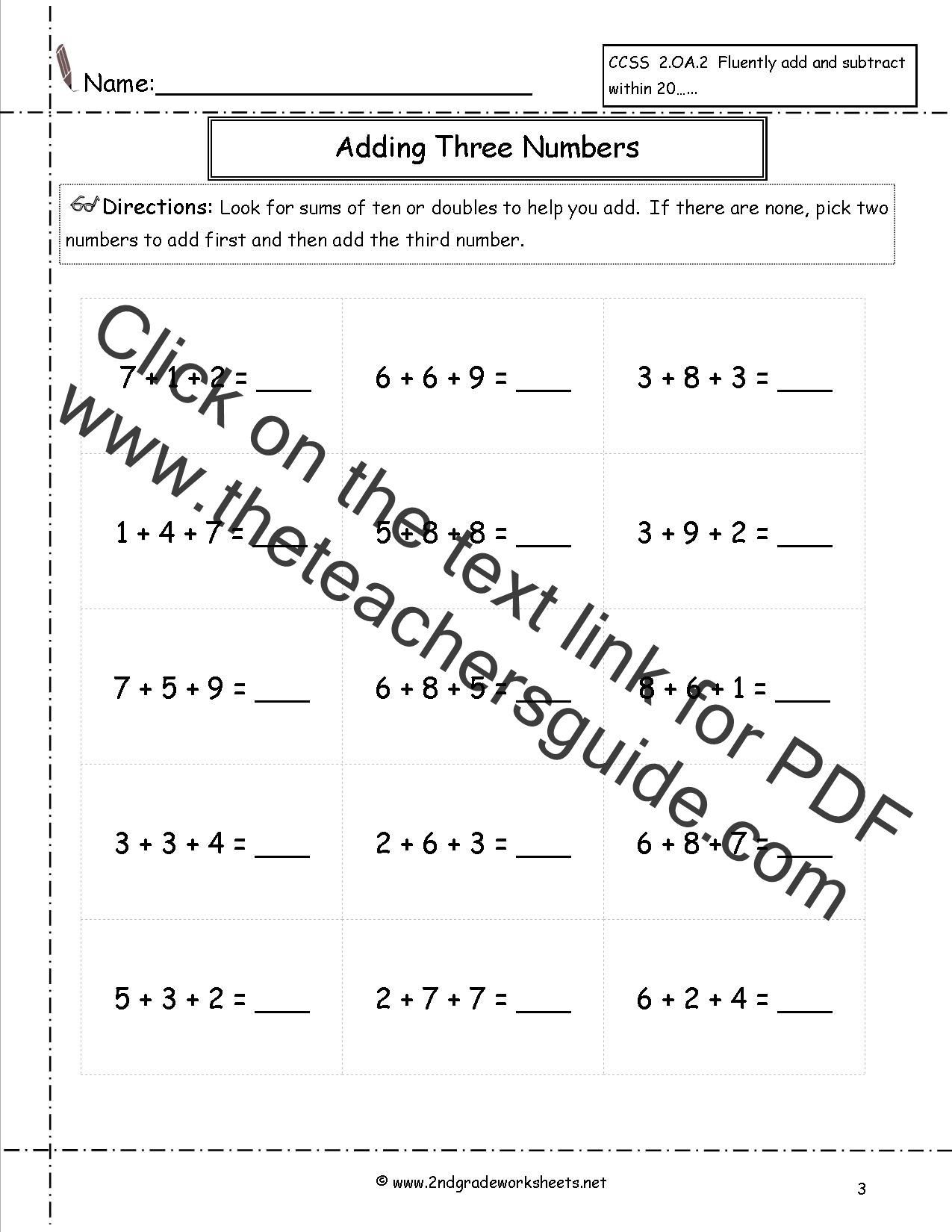 3 Digit Horizontal Addition Worksheet